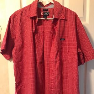 Mens Chaps button down casual shirt red w pattern